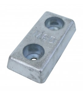 Aluminium Hull Anode - 40AHD - Bolt On - 1.9KGS NOM NET WEIGHT 110 MM BOLT CENTRES